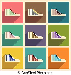 Modern flat icons vector collection with shadow gumshoes