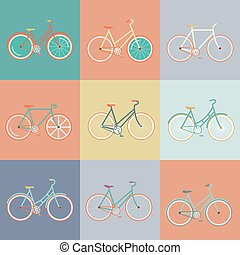 Modern flat illustration of retro bicycle
