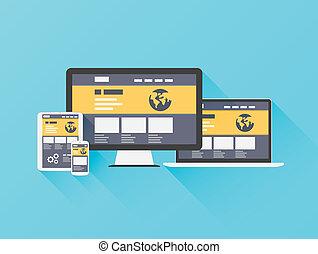 Modern flat illustration of website