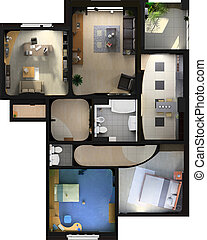 modern flat interior - modern interior on the top view...