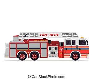 Modern Flat Isolated Firefighter Truck Illustration - Flat ...