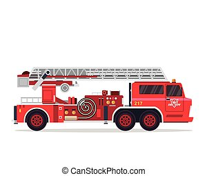 Modern Flat Isolated Firefighter Truck Illustration - Flat...