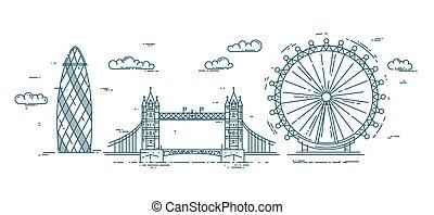 Modern flat line vector illustration with London landmarks.