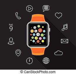 Modern flat orange smartwatch with app icons on grey background
