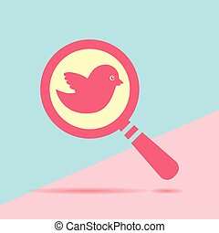 modern flat red flat magnifier search icon with bird with shadow