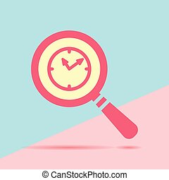 modern flat red flat magnifier search icon with clock with shado