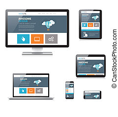 Modern flat responsive web design vector illustration...