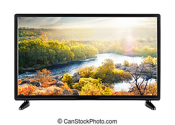 Modern flat-screen TV and autumn landscape with river on it