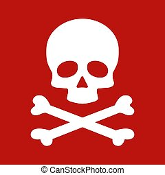 Modern flat skull crossbones icon isolated on red background