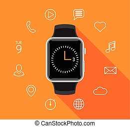 Modern flat smartwatch with app icons on orange background