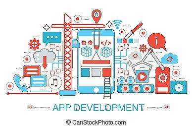 Modern Flat thin Line design App development concept for web banner website, presentation, flyer and poster.