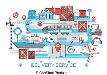 Modern Flat thin Line design Delivery logistics cargo service concept for web banner website, presentation, flyer and poster.