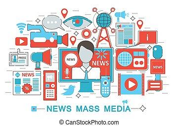 Modern Flat thin Line design News Mass Media concept for web banner website, presentation, flyer and poster.
