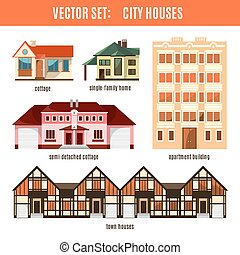 Modern flat vector buildings set