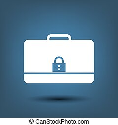 Modern flat vector icon of secured briefcase