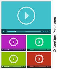 Modern flat video player interface. Vector illustration.