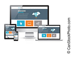 Modern flat web design in responsive website vector