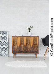 Modern flat with rustic commode - Rustic, wood commode ...