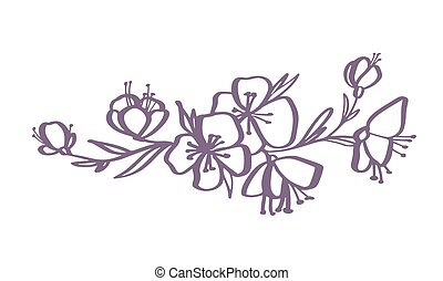 caebdcc2e modern flowers drawing and sketch floral with line-art Isolated on white  background