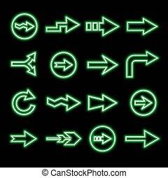 modern fluorescent green arrows set