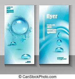 modern flyer with pure water droplet - Stylish blue water...