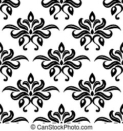 Modern foliate black and white arabesque pattern with bold repeat motifs in a seamless pattern in square format suitable for wallpaper or textiles