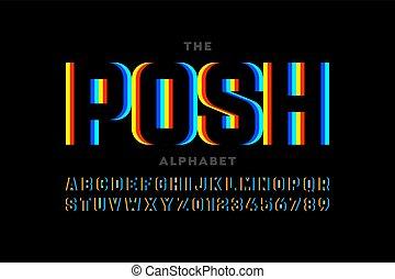 Modern font design, vibrant alphabet