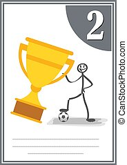 Modern footbal certificate with place for your content, for kids second place