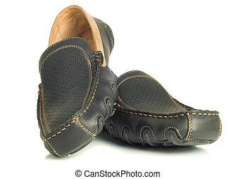 Modern footwear Black mens shoes moccasins