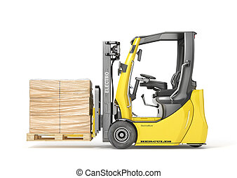 Modern forklift hold pallet with cardboard boxes wrapped in film on a white background. 3d illustration