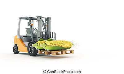 Modern forklift truck with corn
