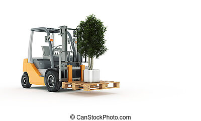 Modern forklift truck with small tr
