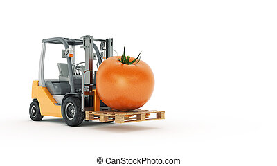 Modern forklift truck with tomato