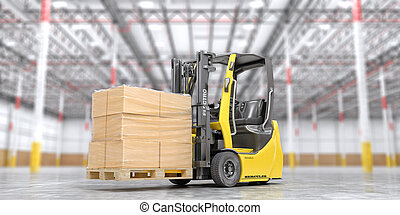 Modern forklift with cardboard boxes on a blurred warehouse background. 3d illustration