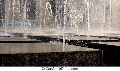Modern fountain working outdoors