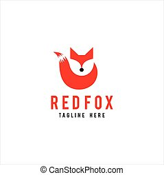 Modern Fox with Tail Logo Hipster Vector Icon Illustration