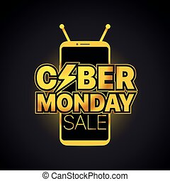 Modern frameless smartphone vector mockup. The Cyber Monday Vector Label