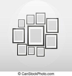 modern frames on the wall, vector illustration.