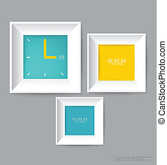 Modern frames on the wall, vector illustration.