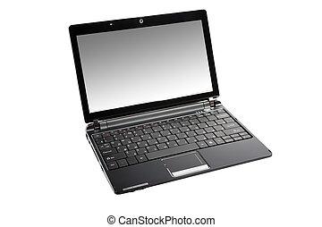modern, freigestellt, hintergrund., netbook, klein, weißes
