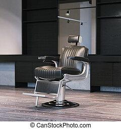 modern, friseursalon, inneneinrichtung, mit, chair., 3d, übertragung