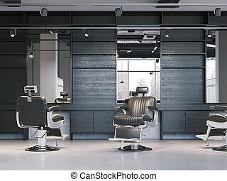 modern, friseursalon, inneneinrichtung, mit, chairs., 3d, übertragung