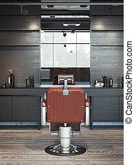 modern, friseursalon, inneneinrichtung, mit, rotes , chair., 3d, übertragung