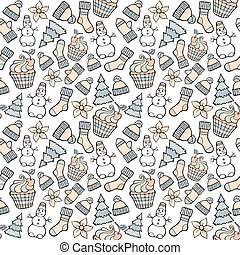 Modern funny color seamless holiday pattern. Hand drawing vector design winter elements isolated on white. New Year and Christmas cartoon theme.