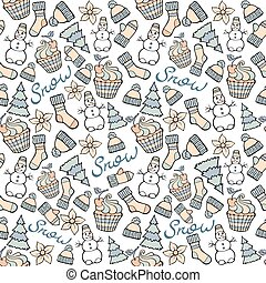 Modern funny color seamless pattern. Hand drawing and calligraphic  vector design elements isolated on white. New Year and Christmas cartoon theme.