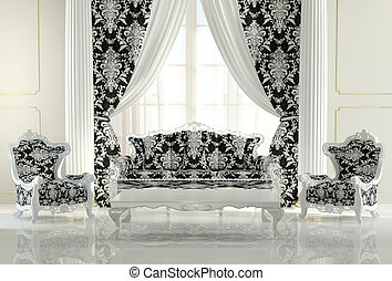 Modern furniture in baroque design interior apartment. Royal sofa and two pattern armchairs