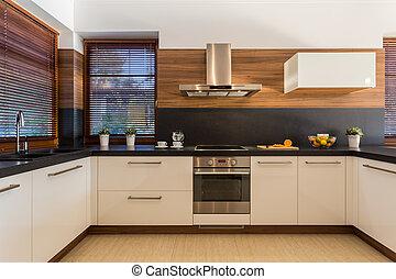 Modern furniture in luxury kitchen - Horizontal view of ...