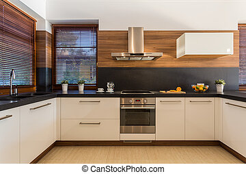 Picture of modern furniture in designed kitchen stock photographs ...