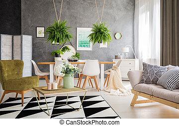 Modern furniture on carpet