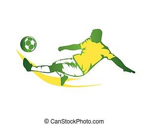 modern, futball, zöld, gyorsan, megrúg, jel